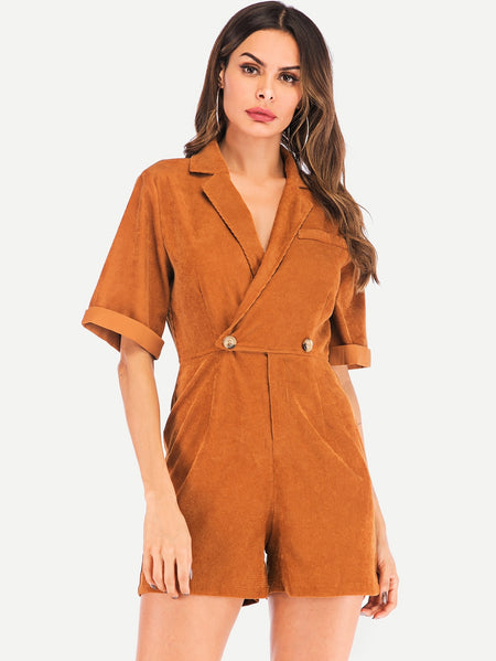 Double Button Notched Neck Corduroy Utility Playsuit
