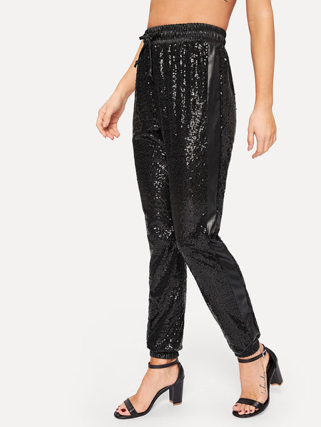 Drawstring Waist Sequin Panel Pants