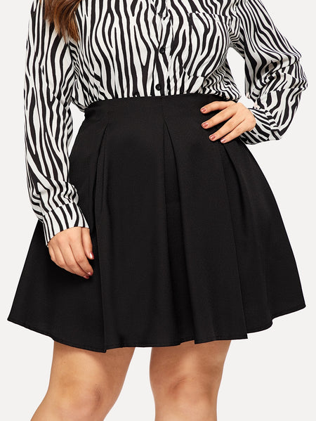Plus Zip Back Solid Skirt