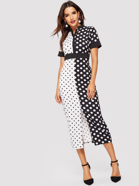 Polka Dot Print Split-front Dress