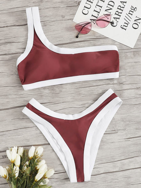 Contrast Piping One Shoulder Top With High Cut Bikini