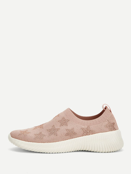 Star Detail Knit Chunky Sneakers