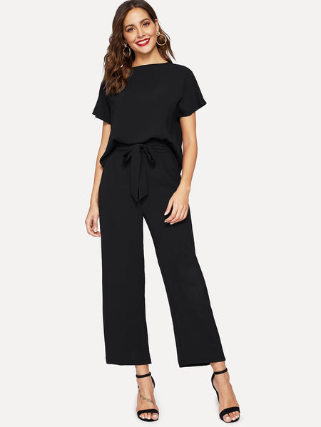 Plain Blouse & Waist Tie Wide Leg Pants