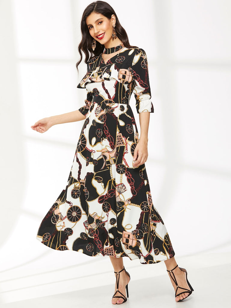 Chain Print Choker Neck Flounce Sleeve Dress