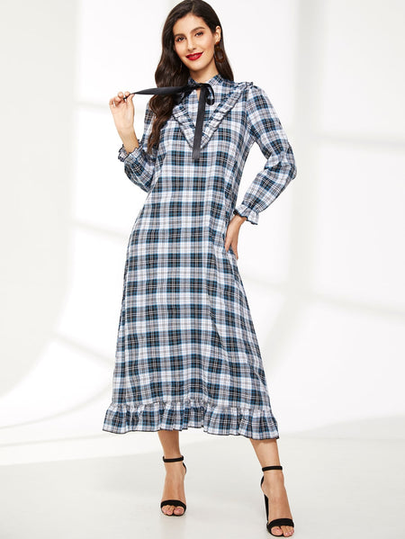 Plaid Tie Neck Ruffle Hem Dress