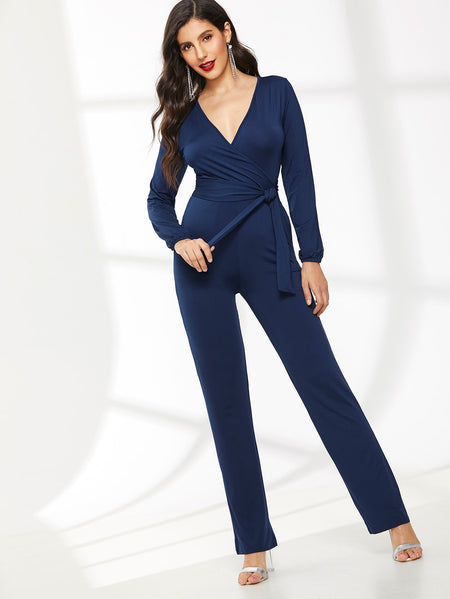 Waist Tie Bishop Sleeve Plunging Neck Jumpsuit