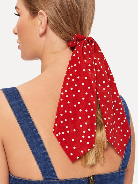 Dot Pattern Scarf Ponytail Holder