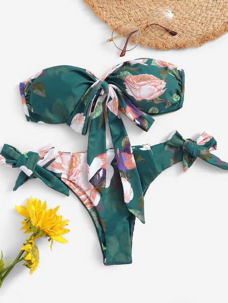 Random Floral Ruched Bandeau With Tie Side Bikini