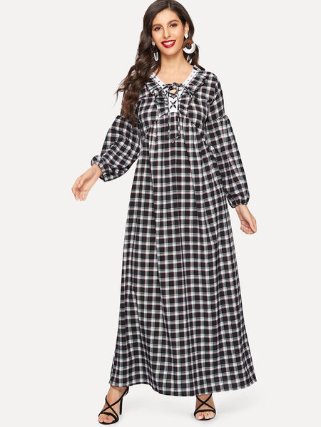 Plaid Lace-up Bishop Sleeve Drop Shoulder Dress