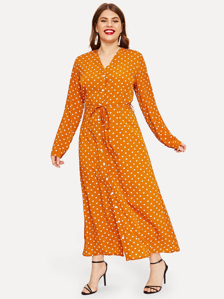 Plus Button Through Polka Dot Belted Shirt Dress
