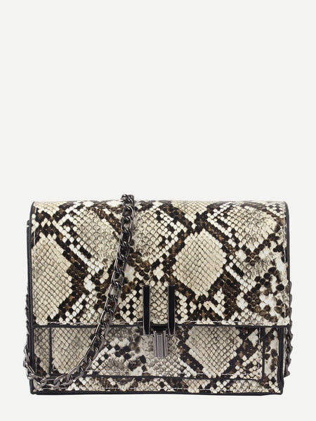 Snakeskin Flap Chain Bag