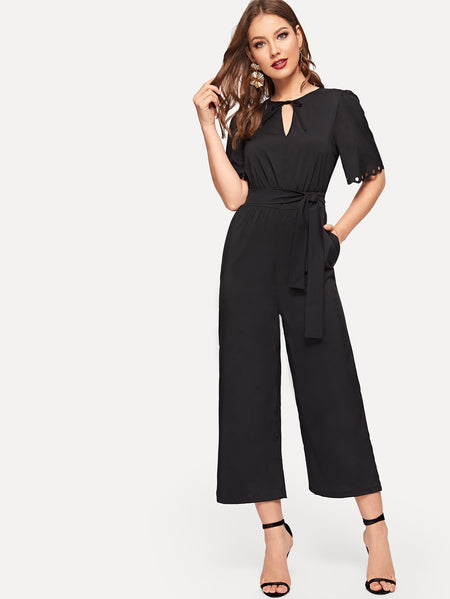 Neck Tie Cut-out Cuff Waist Tie Jumpsuit