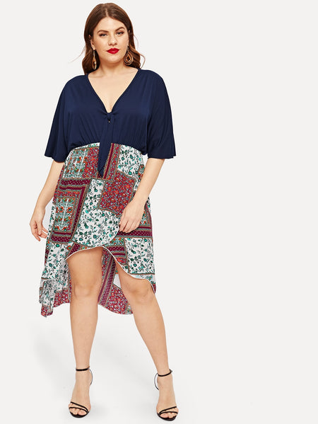 Plus Floral Print Panel V-neck Dress