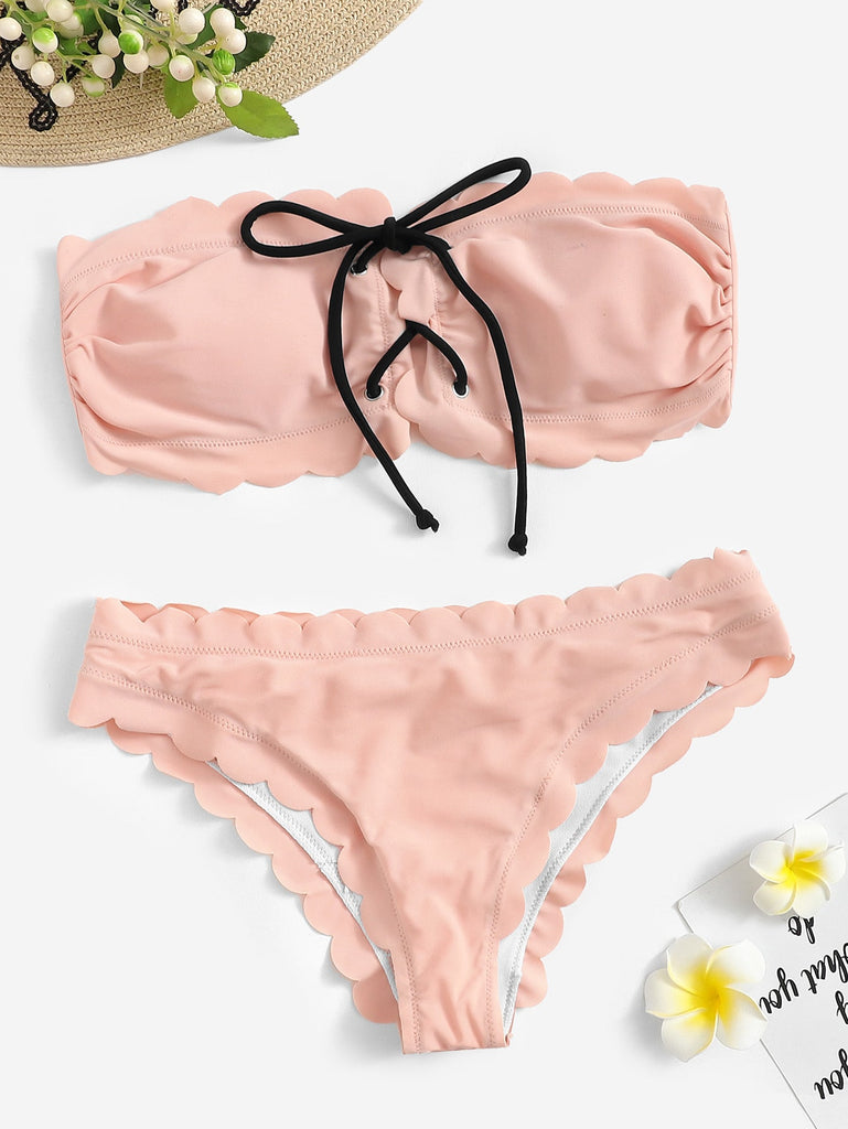 Scalloped Trim Lace-up Ruched Bandeau Bikini Set