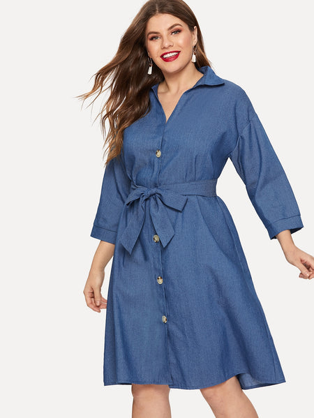 Plus Single Breasted Belted Denim Dress