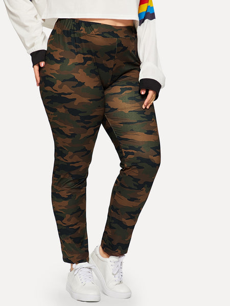 Plus Camo Print Skinny Leggings