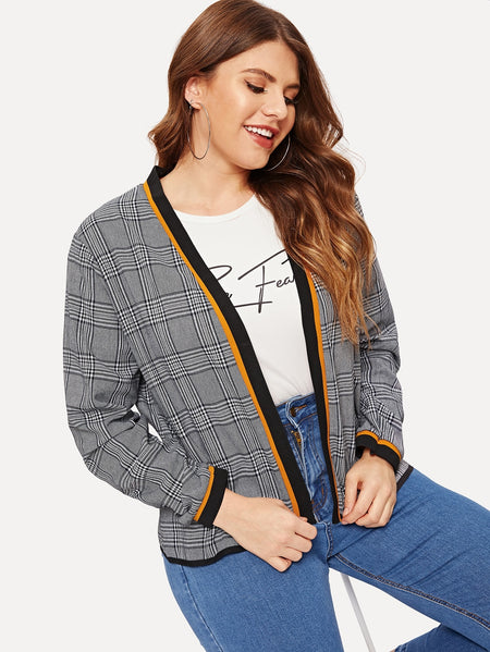 Plus Tartan Plaid Open Front Coat