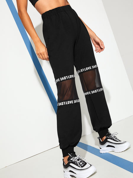 Contrast Mesh Letter Print Tape Panel Pants