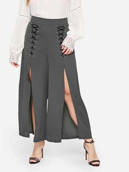Plus Lace Up Split Pants