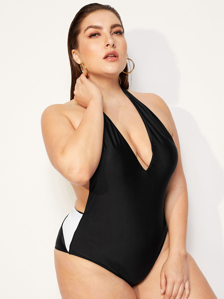 Plus Two Tone Open Back One Piece Swim