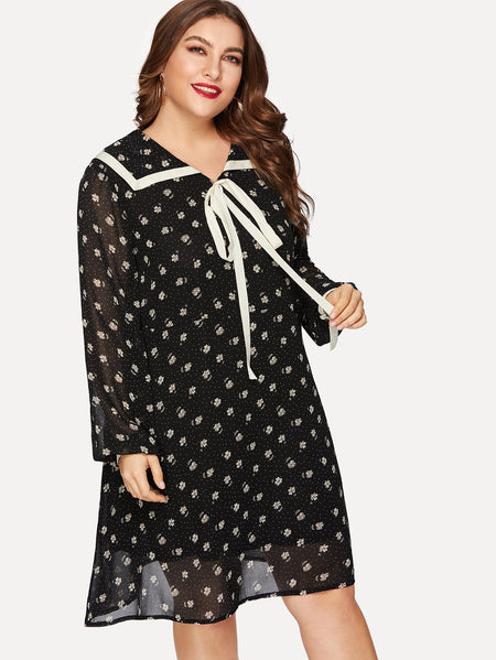 Plus Tie Neck Calico Dress