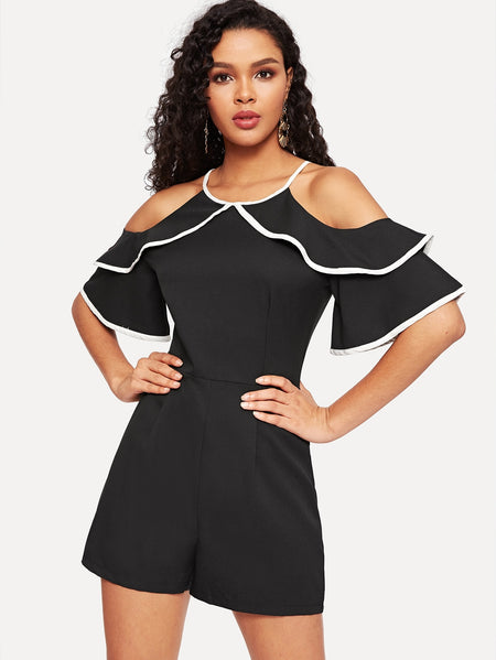 Ruffle Trim Cold-shoulder Zip Back Romper