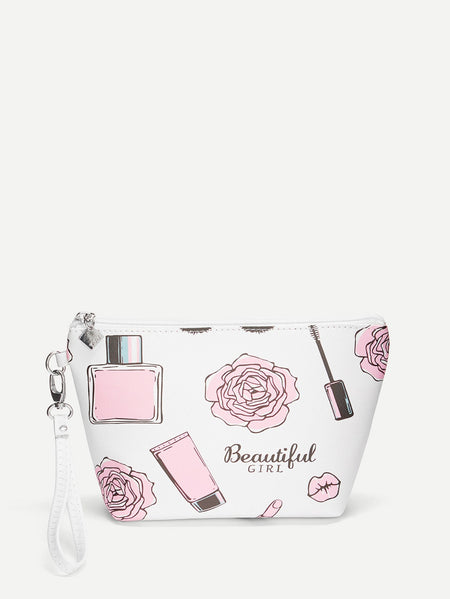 Rose & Cosmetic Pattern Makeup Bag