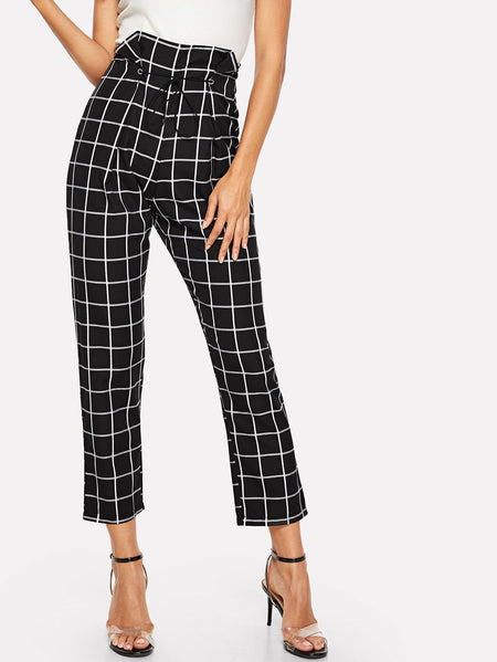 Window Pane Plaid Drawstring Waist Pants