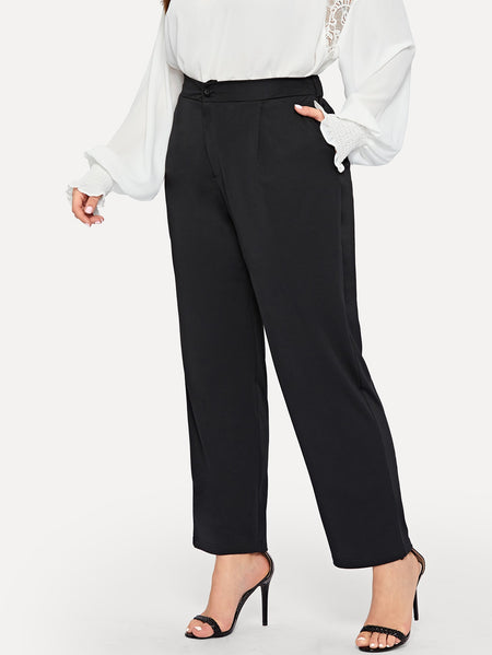 Plus Pocket Side Solid Pants
