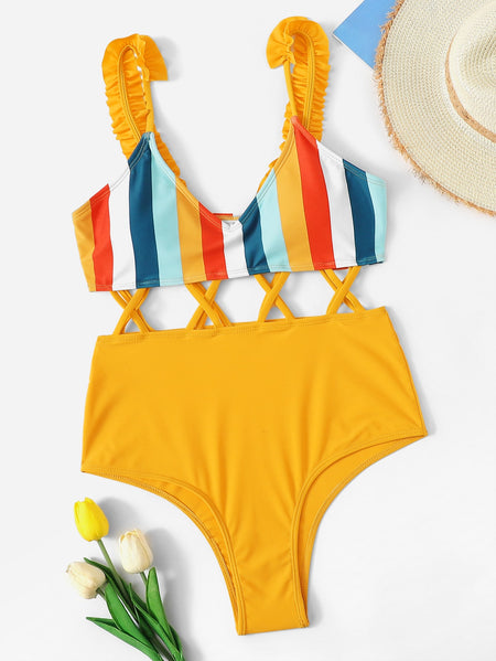 Frill Decor Straps Cross One Piece Swimwear