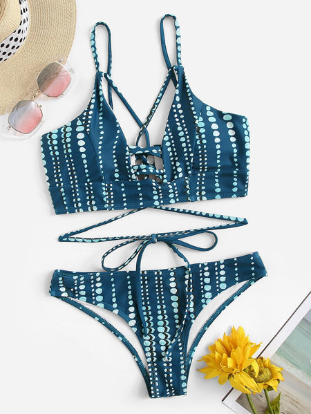 Tie Front Low Back One Piece Swimwear