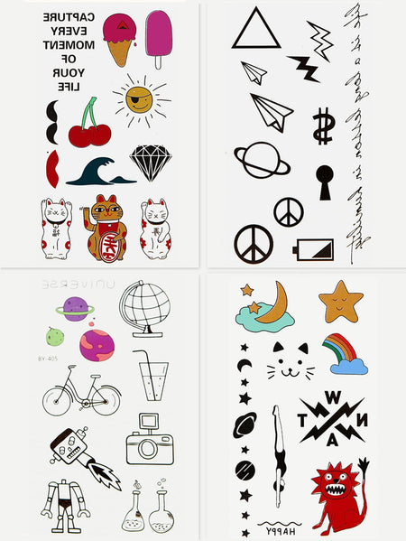 Cartoon Tattoo Sticker 4 Sheets
