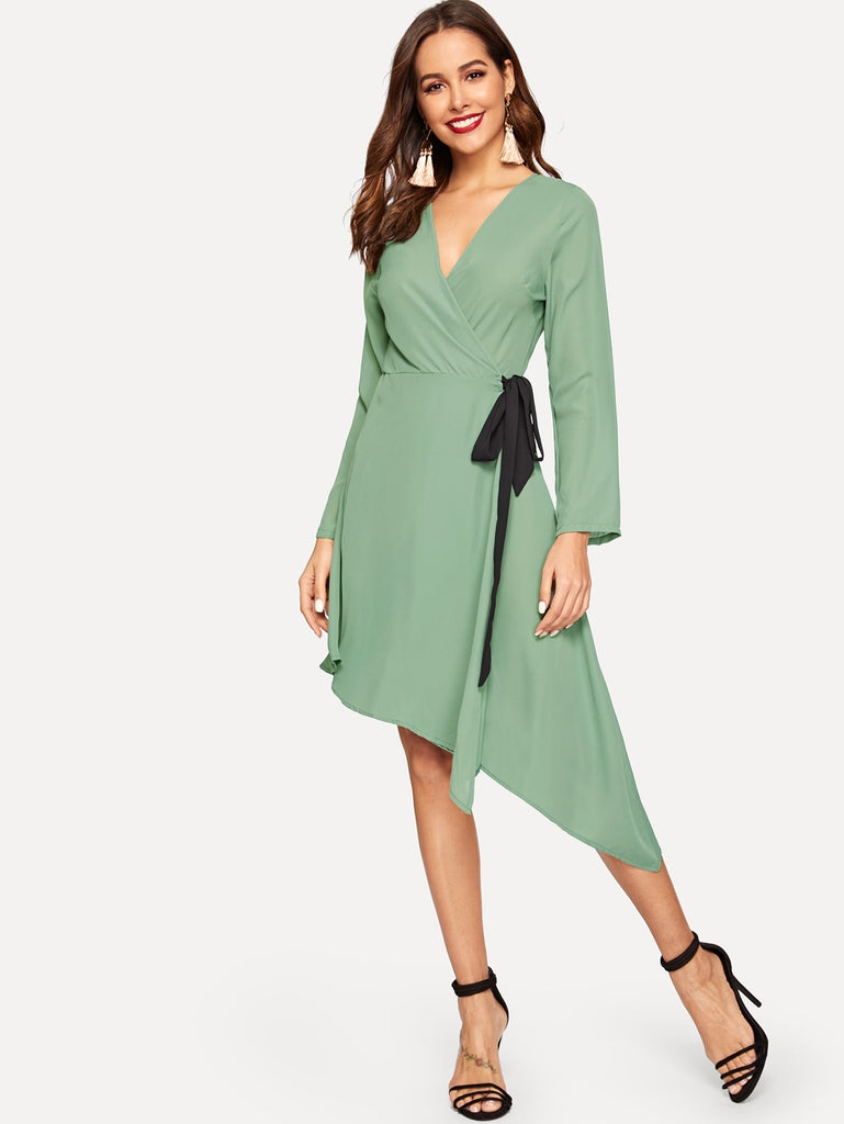 Asymmetrical Hem Surplice Front Dress