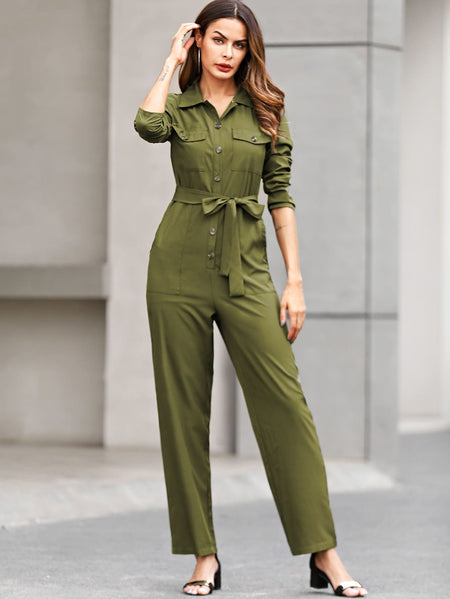 Dual Pocket Button Through Belted Jumpsuit
