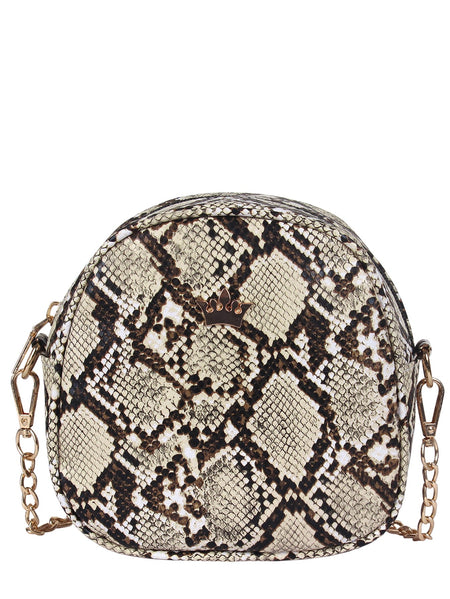 Crown Decorated Snakeskin Chain Bag