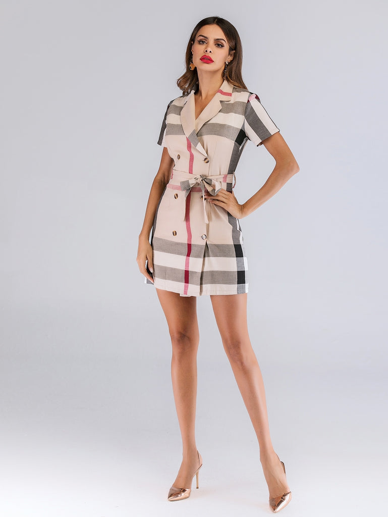 Madras Plaid Double Breasted Belted Dress