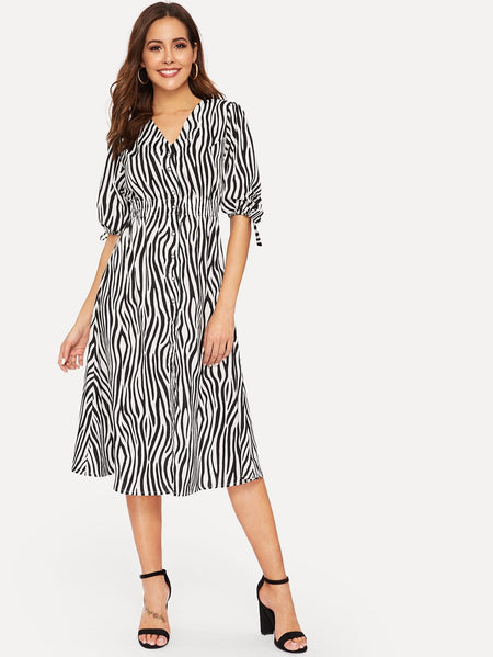 Zebra Print Knot Cuff Dress