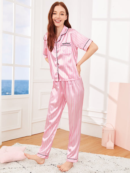 Satin Letter Embroidered Striped PJ Set