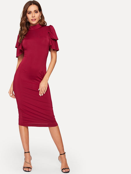 Mock Neck Tiered Flounce Sleeve Dress