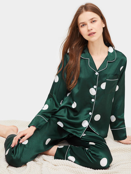 Polka Dot Satin Pajama Set