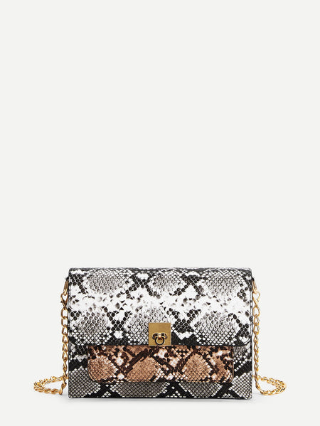 Snakeskin Print Chain Crossbody Bag