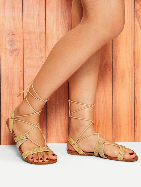 Weave Detail Tie Leg Flat Sandals