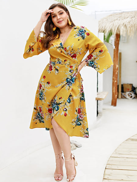 Plus Wrap Tie Side Floral Print Dress