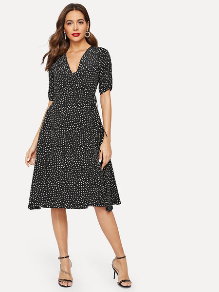 Dalmatian Print Surplice Wrap Dress