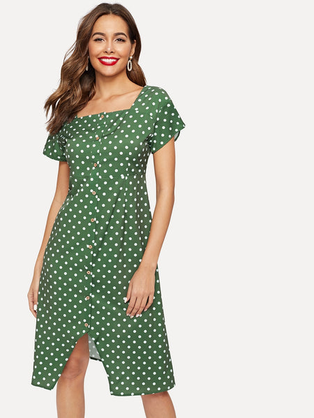 Button Through Polka Dot Tea Dress