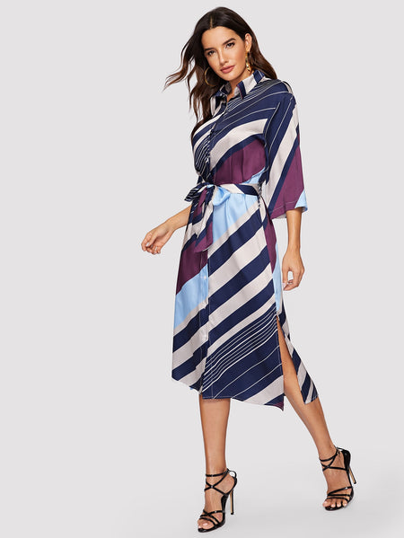 Split Side Striped Self Tie Shirt Dress