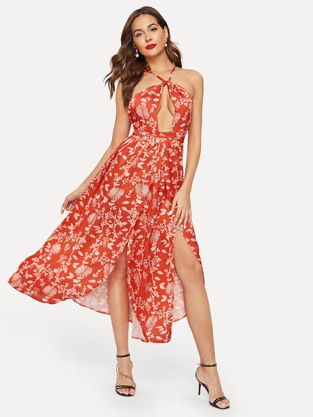 Criss Cross Back M Split Halter Floral Dress