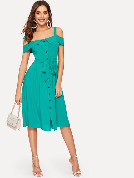 Foldover Cold Shoulder Button Through Belt Dress
