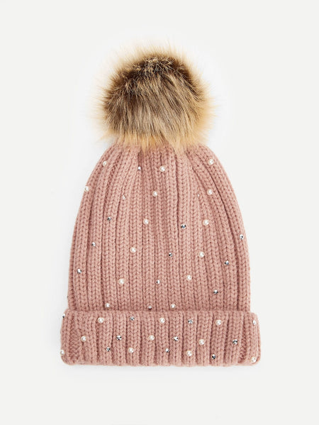Faux Pearl & Pom-Pom Decorated Beanie Hat