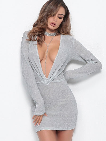Glitter Deep V-neck Draped Dress